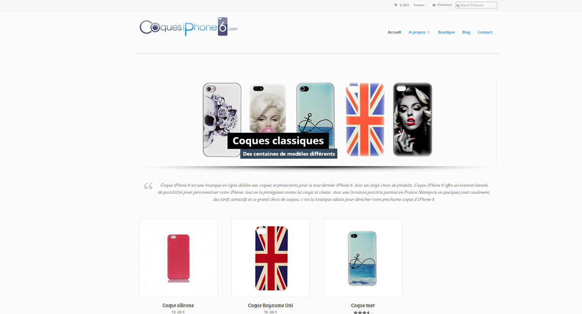 Home page du site Coque iPohne 6