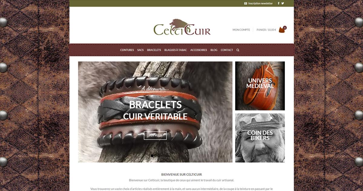 Site web Celticuir.fr - spécialiste du cuir artisanale